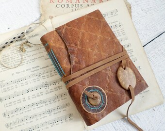 Rustic Brown Leather Handbound Journal white paper Ready to Ship