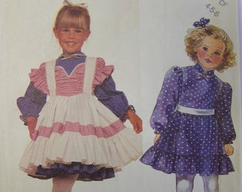 UNcut vintage 1980s McCall's 3398 Enchanted Forest DRESS & PINAFORE pattern sz 4-5-6
