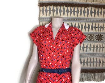 Fun 80s dress / red 80s mid length dress with spots / boho red vintage dress / 80s tea dress / ted polka dot dress with blue belt / sun dres