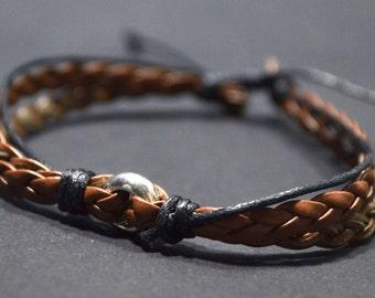 Brown round men bracelet
