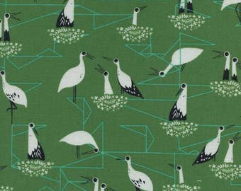 From Porto with Love Stork Nest Green Bird Cotton and Steel Fabric 2034-02  BTY