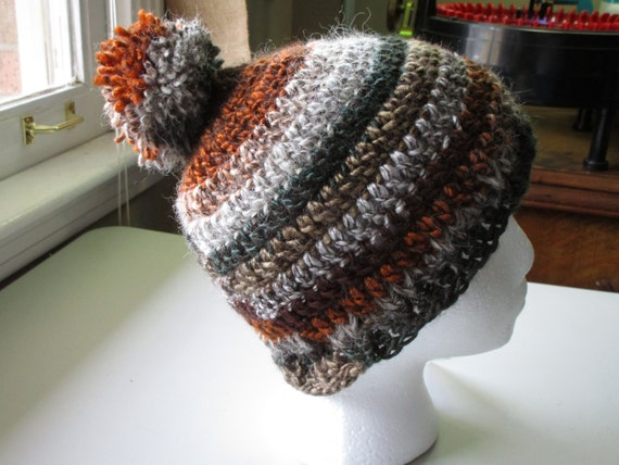 Multi Color Crochet Beanie With Matching PomPom