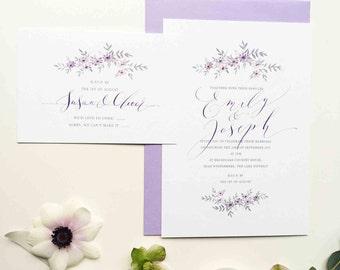 Romance personalised wedding invitation - delicately illustrated wedding invitation with calligraphy