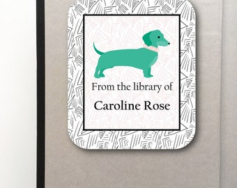 Puppy Dog Personalized Bookplate Sticker