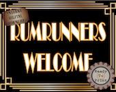 Runrunners Welcome Sign Roaring 20s Prohibition Era Art Deco Printable Gatsby Party Wedding Centerpiece Speakeasy 1920s Bar Front Door Sign