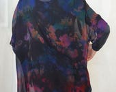 silk kimono jacket, one of a kind art to wear, hand-dyed, sheer, versatile, black with jewel tones