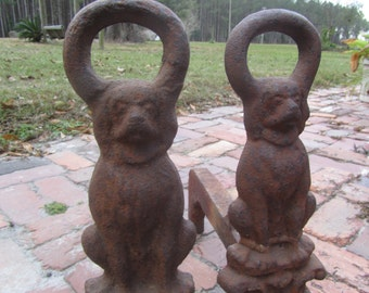 Antique Dog Andirons, fireplace tools, log holder, rusty metal,metal dog,Iron Andirons, Iron Firedogs, Cast Iron Andirons