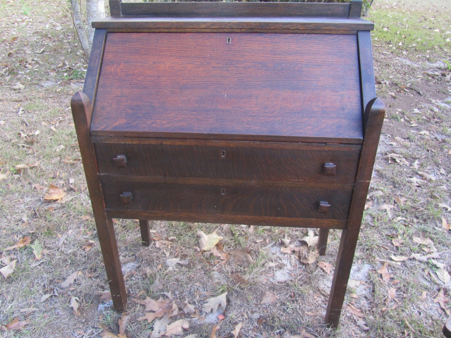 Description. Antique mission style secretary desk ... - Antique Mission Style Secretary Desk And Chair Slant Top