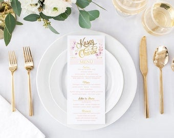 Blush & Gold Wedding Menus - Pink and Gold - Skinny - Printable or Printed Wedding Menu Cards