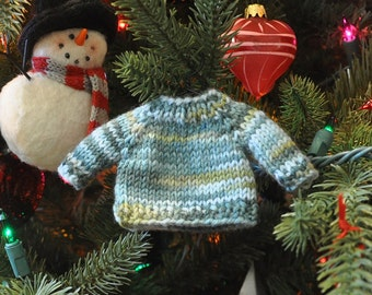 Green Variegated Hand-Knit Sweater Ornament