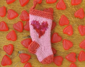 Folk Heart Hand-Knit Christmas Stocking Ornament - Engagement Ring Holder  Valentine's Day