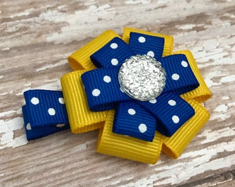 Small Hair Bow, Yellow and Blue with white polka dot, Small Hair Clip, Yellow Hair Clip