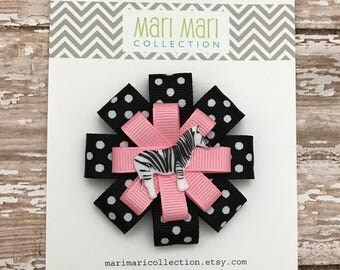 Zebra Hair Bow Hair Clip -  Pink Zebra Hair Bow  - Girls Hair Accessory - Zebra Hair Accessory - Zebra Bow - Cute Hair Bows