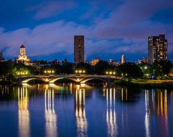 The John W Weeks Bridge and Charles River at night, in Cambridge, Massachusetts. | Photo Print, Stretched Canvas, or Metal Print.