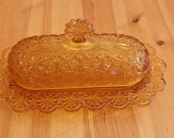 Vintage cut glass butter dish.
