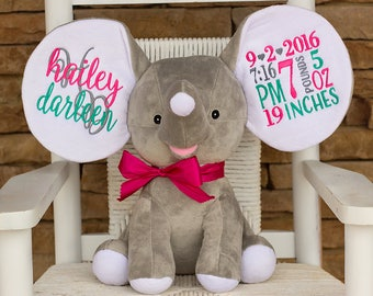 Birth Announcement Elephant- Keepsake- Gray Elephant- Baby gift- Personalized Stuffed Animal- Baby Shower Gift- Birth Stat Elephant- Dumble