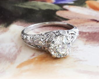 Edwardian Engagement Ring 1915 Antique Old European Cut Diamond Butterfly Floral Filigree Wedding Anniversary Solitaire Ring Platinum