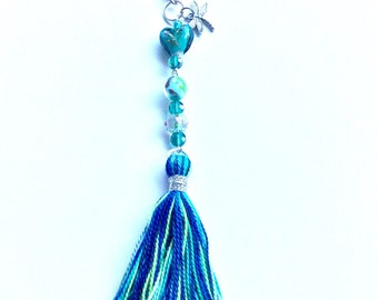 Purse charm/keychain, turquoise and green beaded with tassel