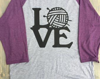 LOVE Knitting Shirt - Yarn Love Shirt - Knitter Shirt - Knitting Shirt - Mother's Day Gift - Knitting Baseball Tee - Knitting Love Shirt