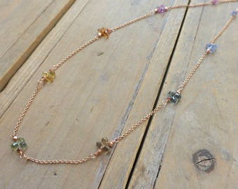 T H E S A P P H I R E C O L L E C T I O N - Sapphire Trios Scattered on Chain Necklace in Pink Gold