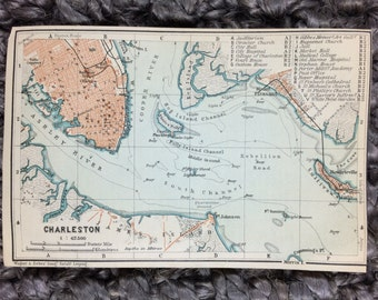 1904 Charleston Map [6 x 4 in.] Original Vintage Charleston Map