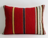 Red kilim pillow 12x16 red pillow