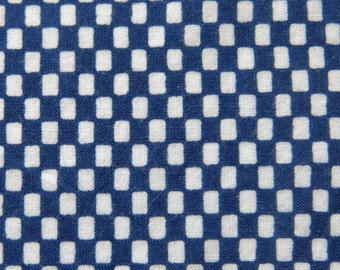 Vintage Japanese Kimono Cotton Fabric Ichimatsu Indigo Checkered 34x93cm AX126