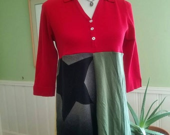 Red Gold Black and Green tunic Size S/M