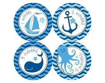 Nautical Monthly Baby Milestone Stickers - Baby Shower Gift - One-Piece Baby Stickers - Monthly Baby Stickers - Baby Month Sticker