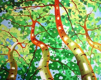 ACEO Art, ACEO Print, ACEO Card, Open Edition,Tetiana Art, Miniature Art, Abstract, Nature,Tree Painting, Landscape Art