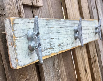 Nautical, Distressed White, Boat Cleat Coat Rack, Towel Rack, Book Bag Rack, Hat Rack, or Key Rack with Boat Cleats and Reclaimed Wood