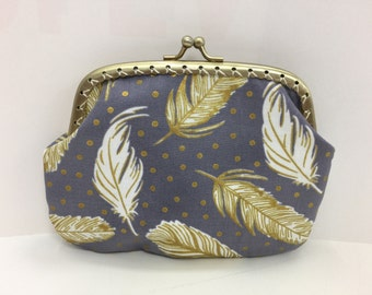 Large Gold Feathers Coin Purse
