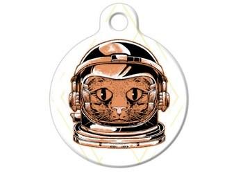 Cat Astronaut Major Tom Pet ID Name Tag Personalised Custom Dog Cat Name Tag