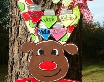 Reindeer Door Hanger,  Christmas Door Hanger, Christmas Wreath, hand painted door hanger, reindeer wreath, Christmas reindeer