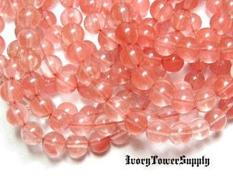 1 Strand 6mm Cherry Quartz Beads, Round Beads, Pink Beads, Glass Beads, Gemstone Beads,