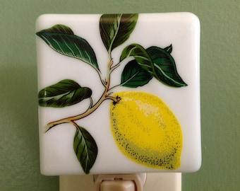 Lemon, Bathroom, Fused Glass, Fruit, Night Light, Fused Glass, Nightlight, Florida, Mother's Day Gift, Plug In