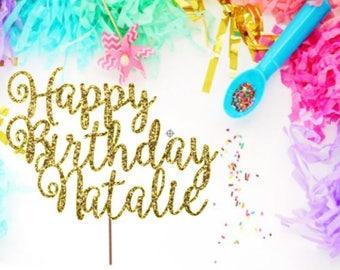 custom name - glitter cake topper - birthday cake topper - cake topper - party decoration - ships fast