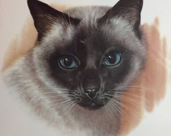 Vintage Siamese Cat Tile Trivet Blue Eyes Seal Point Chocolate Point Feline Home Decor Purebred Cats Cat Lovers Gift Idea