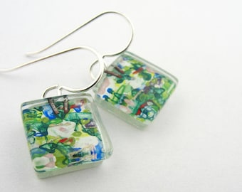 Glass Jewelry: Nenuphar Squares Green Monet Water Lilies