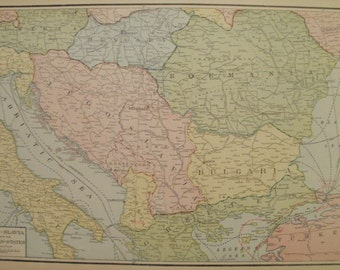 Balkans Map,Balkan States Map,Greece Map,Constantinople Bulgaria Albania,Map in Europe,Europe Map Art,Place on World Map,2 Sided 1928 vs23