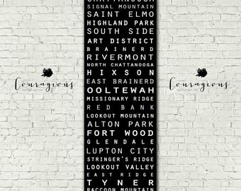 Chattanooga Typography Subway Style Retro Vintage Sign Wall Art Canvas Print and Framed Canvas 12x36 20x60