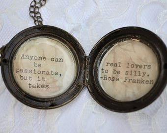 Brass Locket with Rose Franken Quote