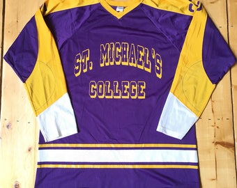 Rare Vintage 70s St Michael's College Purple and Yellow Champion Blue Bar Mesh Hockey Jersey - Size 48 - XL