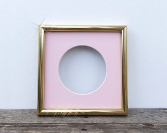 8x8 gold and pink frame square gold frame with pink 5x5 mat girls nursery mid century modern style frame custom simple metal frame