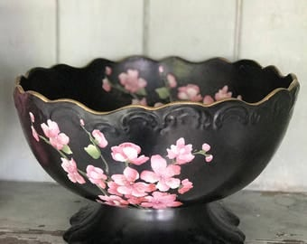 A stunning large Carltonware footed jet black with apple blossoms footed fruit bowl