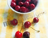 Small Bowl of Cherries Note Card