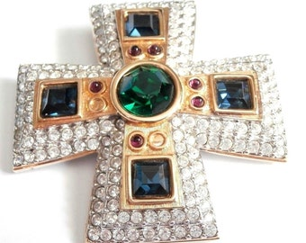 Signed Swarovski Pin Brooch Gold Plated Maltese Cross with Crystals - NOT MINT (D)