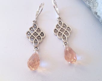 Micro Faceted Pink Crystal Glass Detailed Scroll Drop Earrings