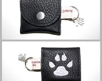 """Dog tags / chip bag leather Silver """"black"""""""