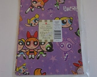 90s Powerpuff Girls Cartoon Wrapping Paper by American Greetings Gift Wrap Ephemera, Vintage 90s New in Package